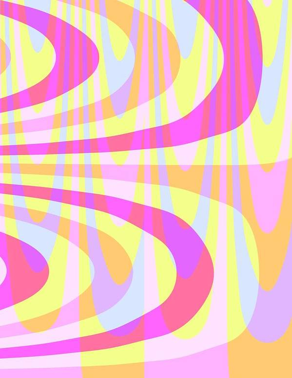 70's Swirls (digital) By Louisa Knight (contemporary Artist) Art Print featuring the digital art Seventies Swirls by Louisa Knight