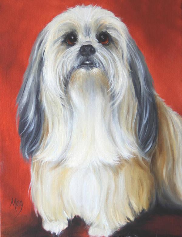 Dog Art Print featuring the painting Shih Tzu by Meg Keeling