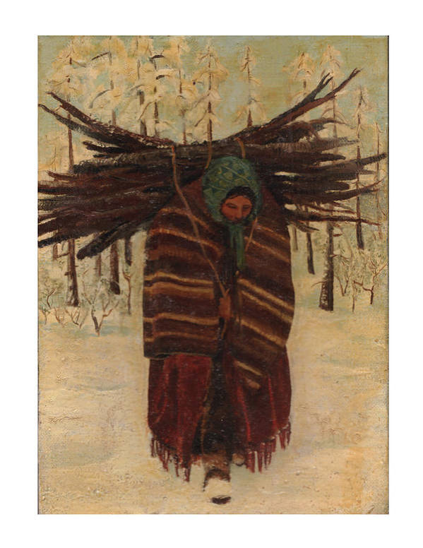 Art Print featuring the painting Squaw With Wood by Kitty Meekins