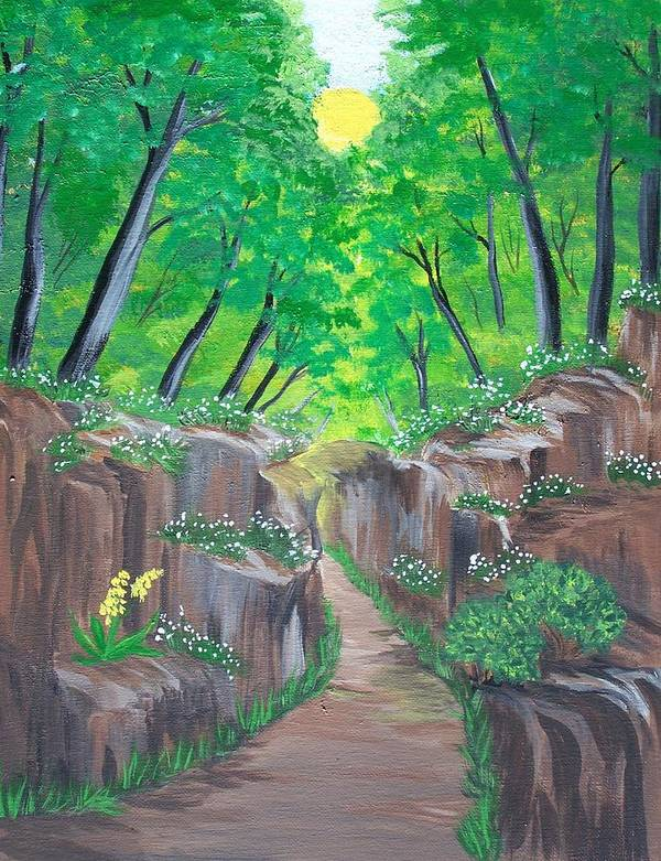 Forest Art Print featuring the painting Stone Ravine by Elizabeth Janus