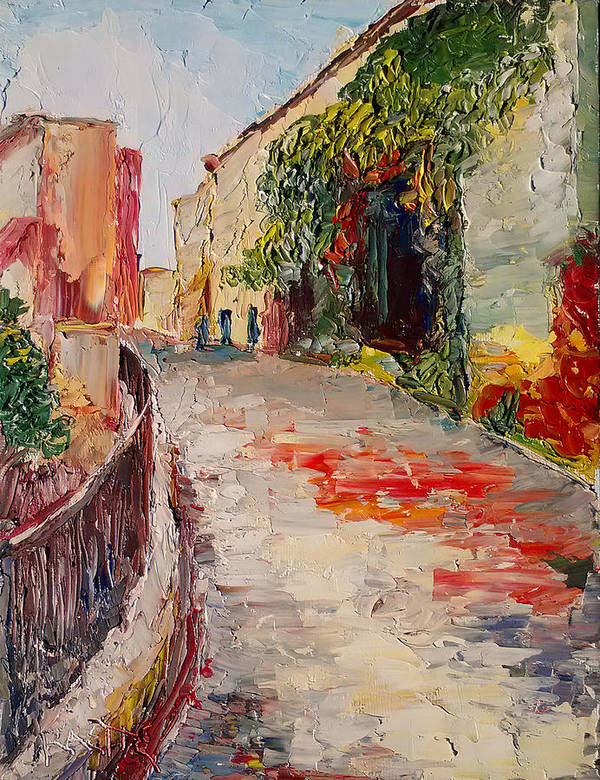 Cannes Art Print featuring the painting Streets Of Old Cannes by Raette Meredith