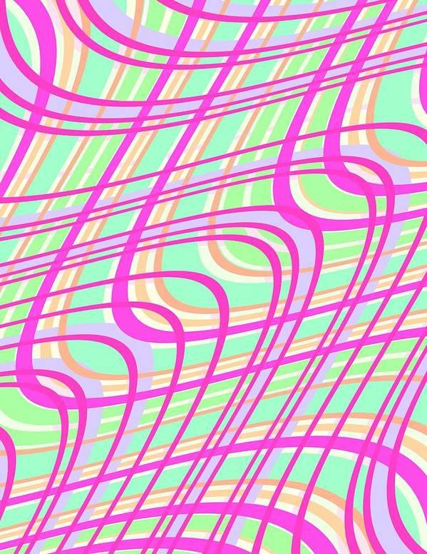 Swirly Check Art Print featuring the digital art Swirly Check by Louisa Knight