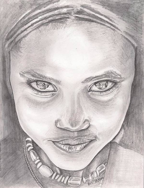Girl Art Print featuring the drawing The Beauty Of Ethiopia by Beverly Marshall
