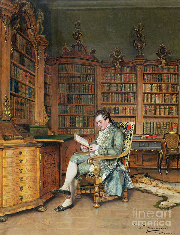 The Bibliophile Art Print featuring the painting The Bibliophile by Johann Hamza