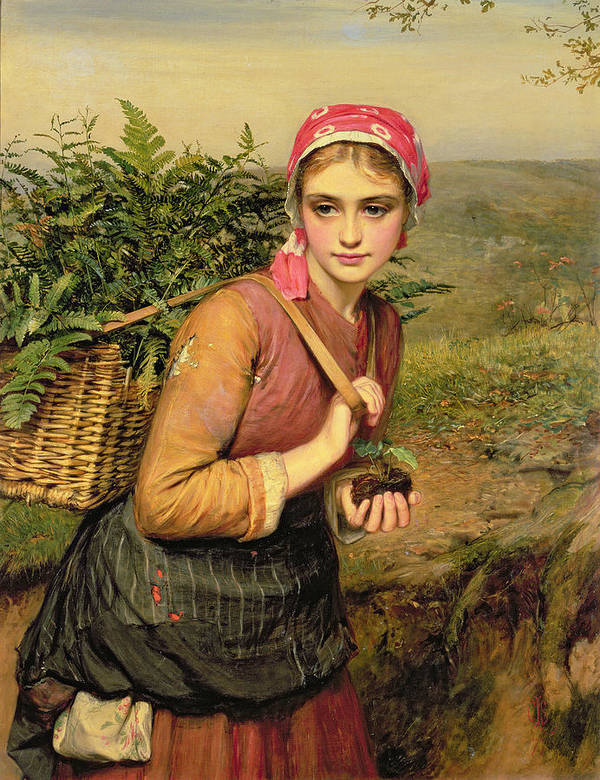 The Fern Gatherer Art Print featuring the painting The Fern Gatherer by Charles Sillem Lidderdale