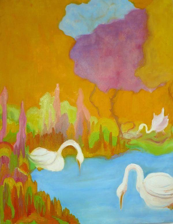 Swans Art Print featuring the painting Three Swans by Diana Ogaard