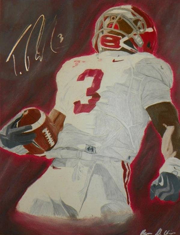 Trent Richardson Art Print featuring the drawing Trent Richardson Alabama Crimson Tide by Ryne St Clair