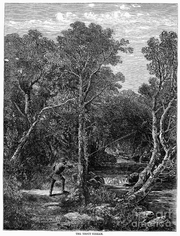 1867 Art Print featuring the photograph Trout Fishing, 1867 by Granger