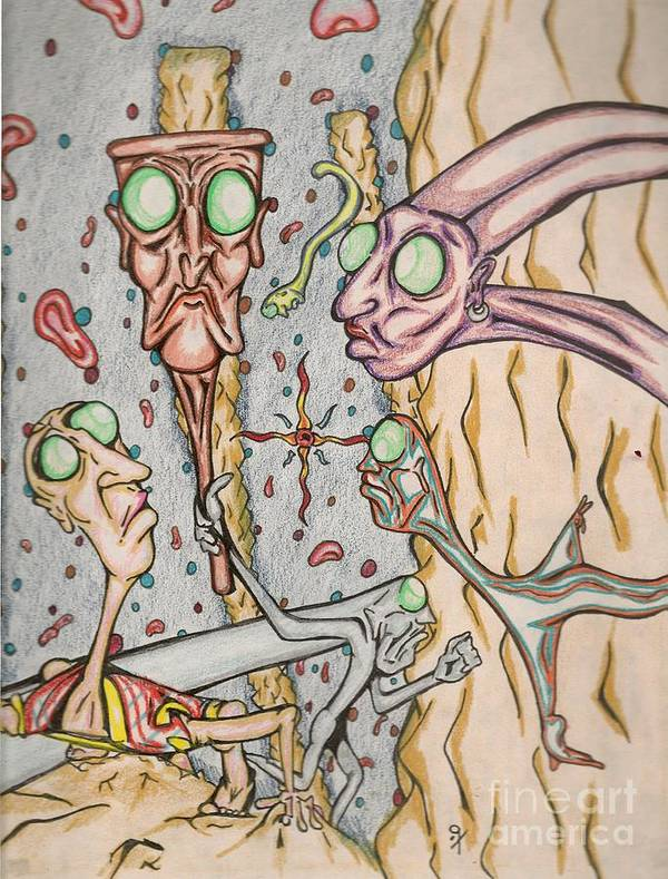 Surrealism Art Print featuring the drawing Untitled 1997 by Gustavo Ramirez