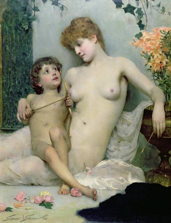 Love First Lesson Art Print featuring the painting Venus And Cupid by Solomon Joseph Solomon