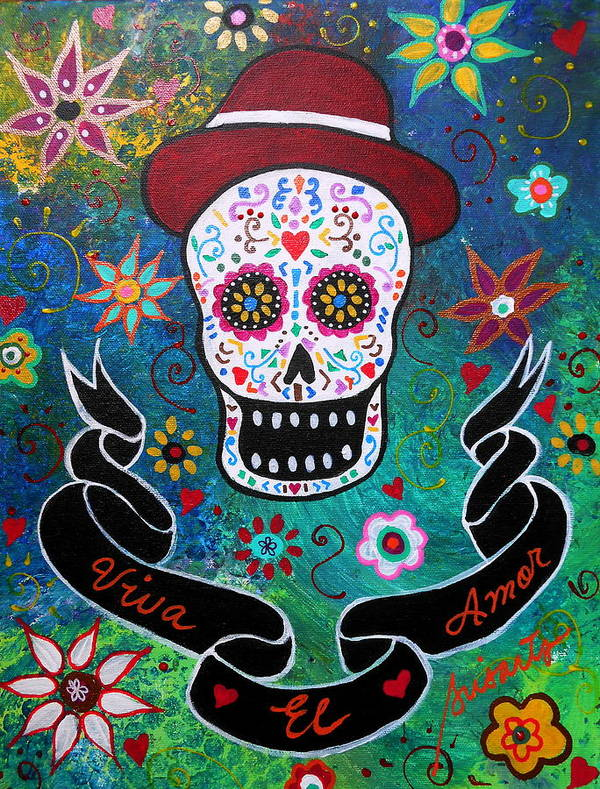 Prisarts Art Print featuring the painting Viva El Amor Day Of The Dead by Pristine Cartera Turkus