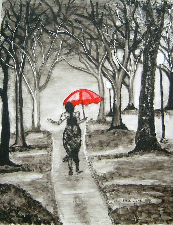 Romance Art Print featuring the painting Walk In The Rain by Manjiri Kanvinde