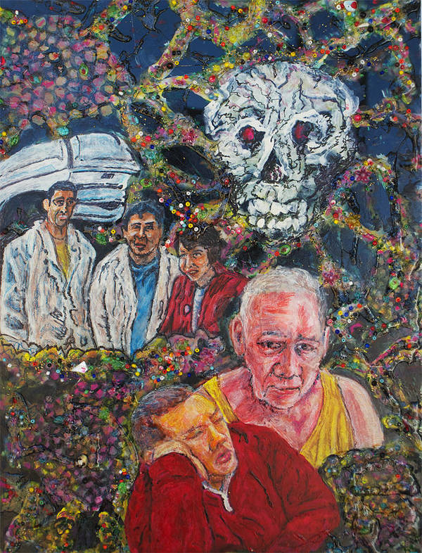 Mixed Media_cancer_onocology_cancer Cells_father Sick_ Son Sleeps By Him_colorful Art Print featuring the painting With The Help Of My Team by Richard Wynne