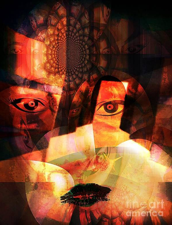 Wisdom Print featuring the mixed media Woman Spirit At The Door by Fania Simon