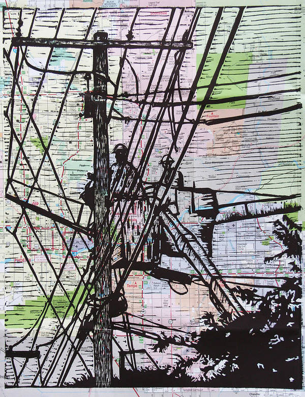 Powerlines Art Print featuring the drawing Working On Lines by William Cauthern