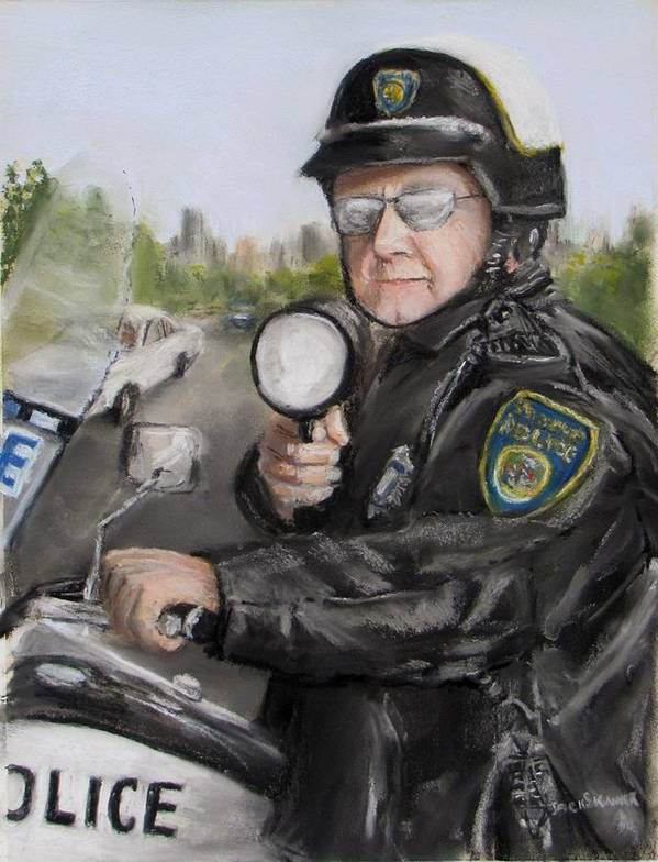 Police Print featuring the painting Gotcha by Jack Skinner