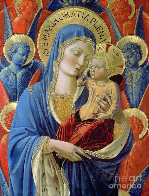 Virgin And Child With Angels Art Print featuring the painting Virgin And Child With Angels by Benozzo di Lese di Sandro Gozzoli