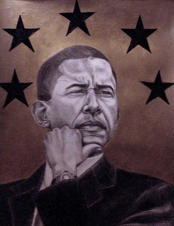 Maliksart Art Print featuring the painting Brotha President by Malik Seneferu