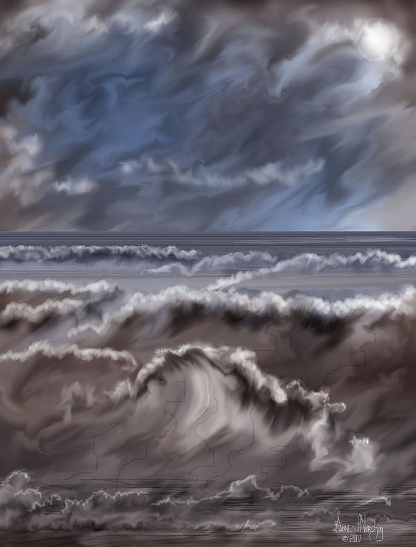 Seascape Art Print featuring the painting Caramel Seas by Anne Norskog