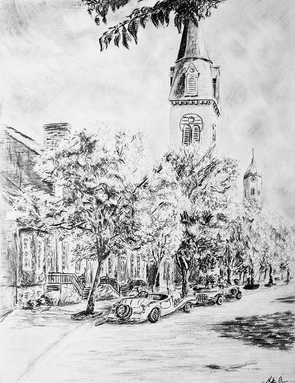Pencil Art Print featuring the drawing Downtown Fred by Nathan Barnes