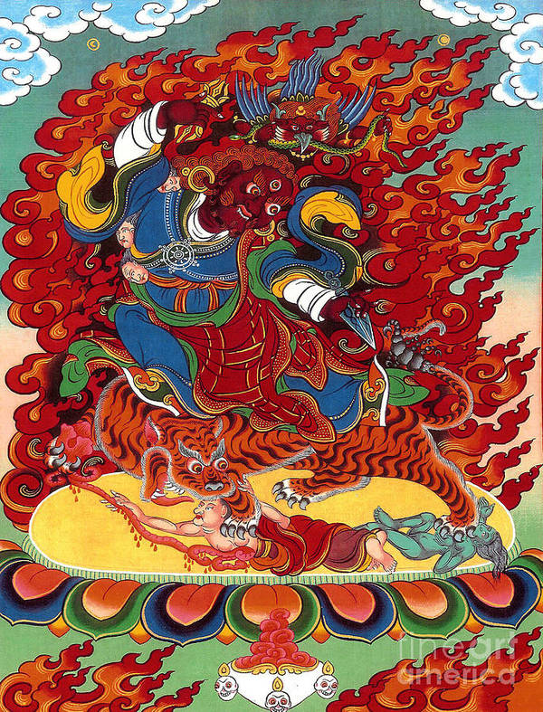 Thangka Art Print featuring the painting Dudjom's Dorje Drollo by Sergey Noskov