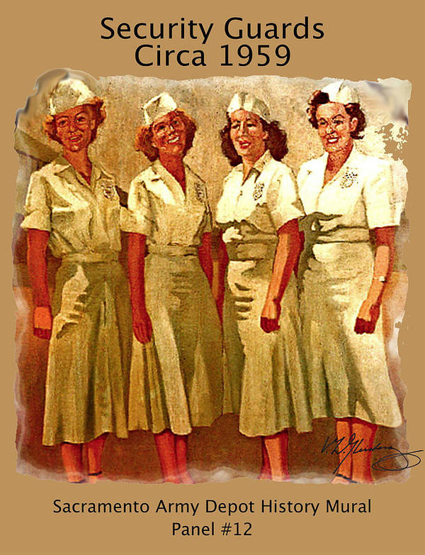 Female Security Guards Circa 1959 Art Print featuring the painting Female Security Guards by Craig A Christiansen