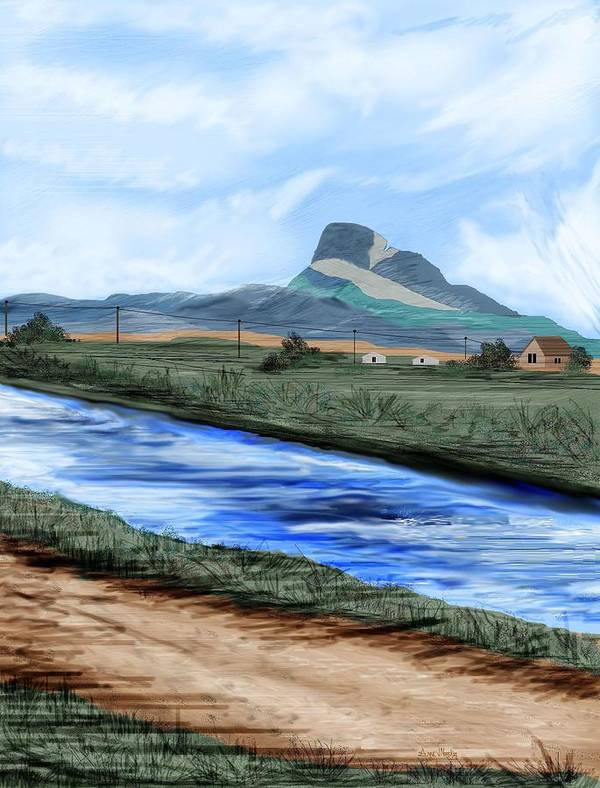 Heart Mountain Art Print featuring the painting Heart Mountain And The Canal by Anne Norskog