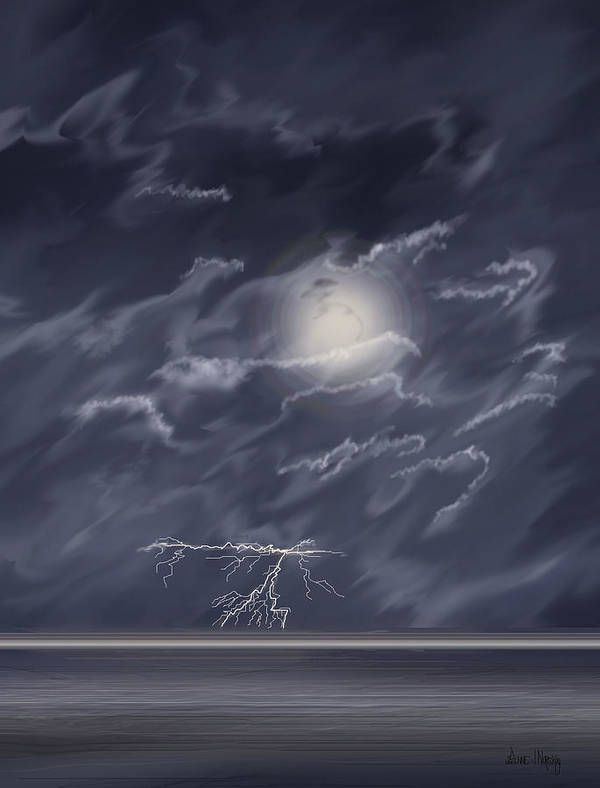 Lightning Storm Art Print featuring the painting In The Heat Of The Night by Anne Norskog