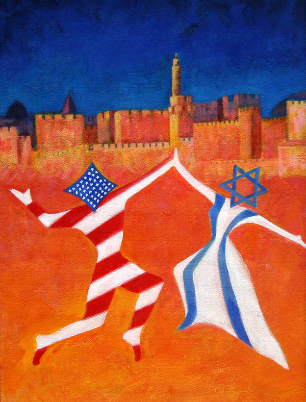 America Art Print featuring the painting Israel And Usa Dancing by Jane Simonson