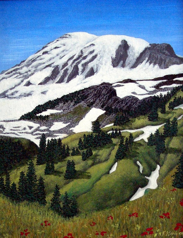 Landscape Paintings Art Print featuring the painting Mount Rainier by Frederic Kohli