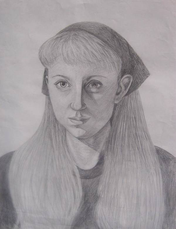 Artist Art Print featuring the drawing Pencil Self Portrait by Emily Young