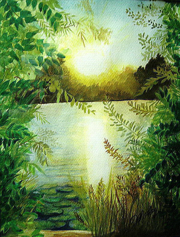 Landscape Art Print featuring the painting Sunset At Mill Lake by Vivian Mosley