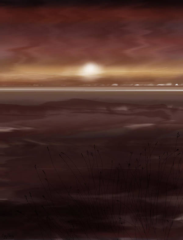Seascape Art Print featuring the painting Tide Flats At Dusk by Anne Norskog