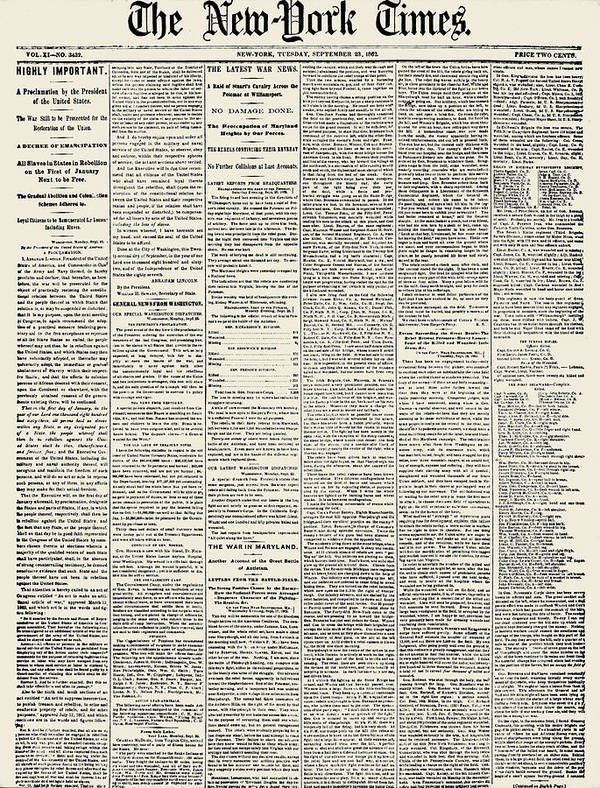1862 Art Print featuring the photograph Emancipation Proclamation by Granger
