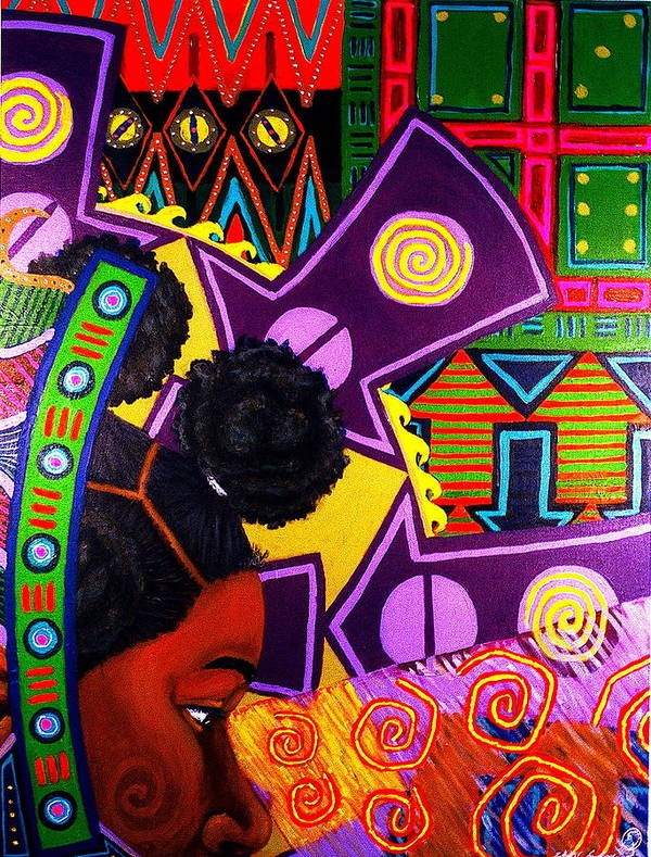 Africanamericanart Art Print featuring the painting Aesthetic Ascension Series by Malik Seneferu
