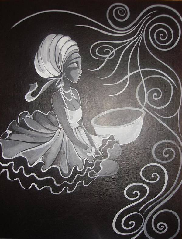 Art Print featuring the painting Black Beauty by Chibuzor Ejims