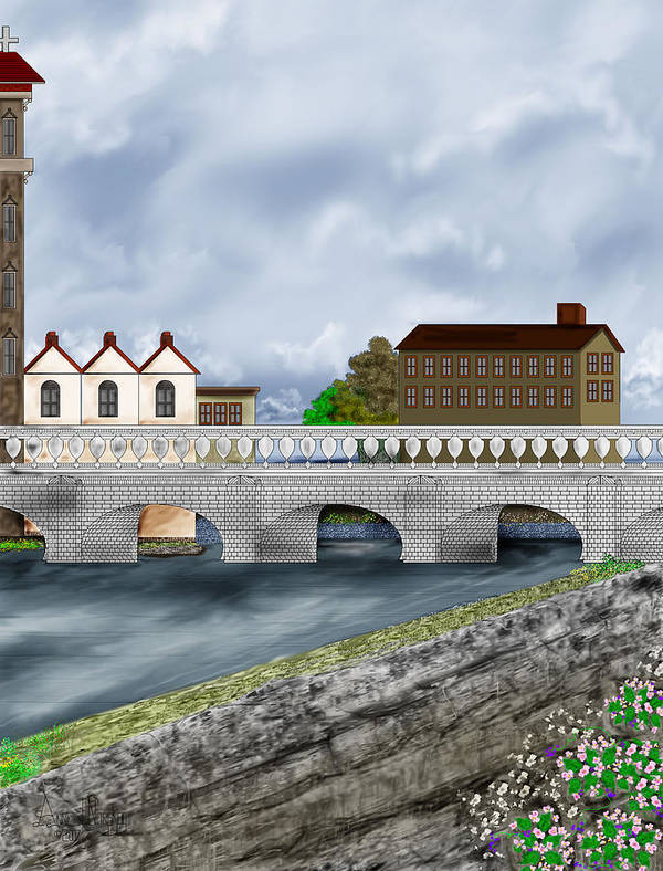Galway Ireland Bridge Art Print featuring the painting Bridge In Old Galway Ireland by Anne Norskog