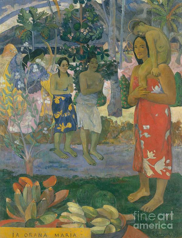 Gauguin Art Print featuring the painting Ia Orana Maria Hail Mary by Paul Gauguin