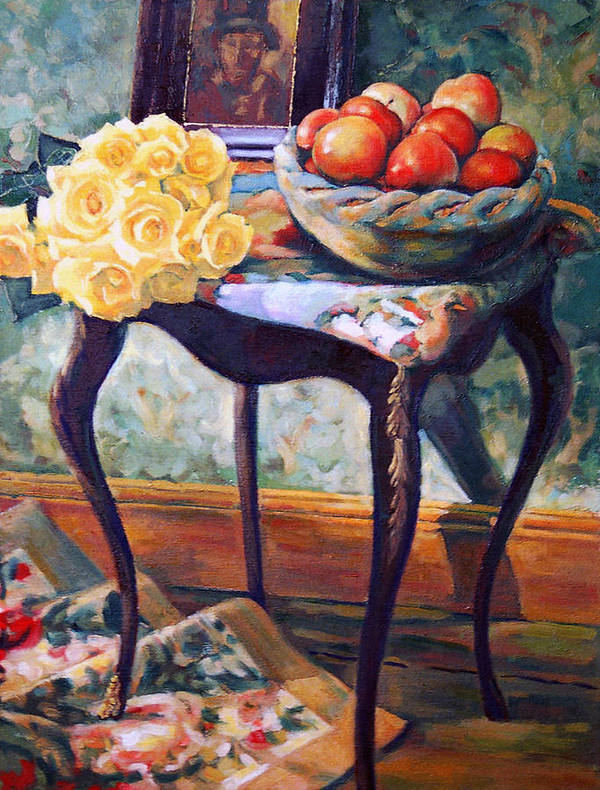 Still Life Art Print featuring the painting Still Life With Roses by Iliyan Bozhanov