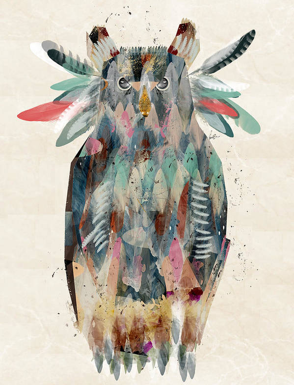 Owls Art Print featuring the painting The Owl by Bri Buckley