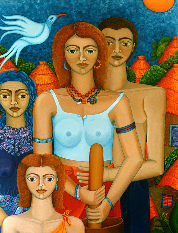 Ages Art Print featuring the painting 3 Ages Of A Woman And A Man by Madalena Lobao-Tello