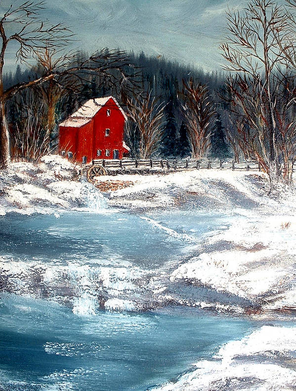Landscape Mill Old Streem Creek Art Print featuring the painting Old Mill by Kenneth LePoidevin