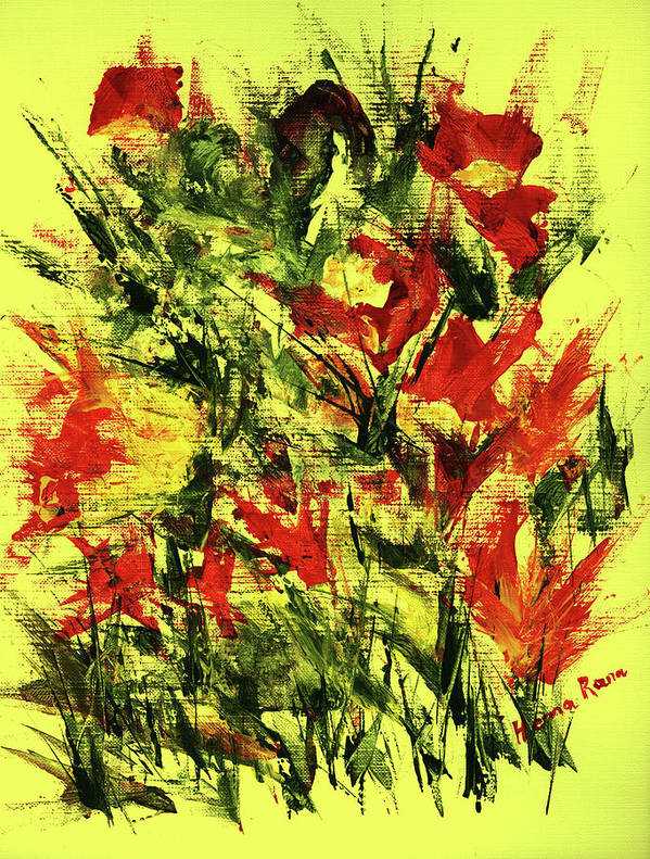 Abstract Flower Painting Art Print featuring the painting Abstract Flowers by Hema Rana