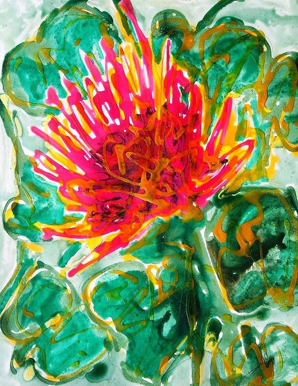 Flowers Art Print featuring the painting Divine Flowers by Baljit Chadha