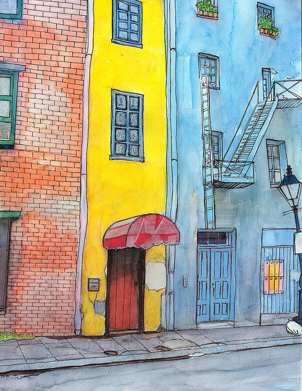 French Quarter Art Print featuring the painting 98 French Quarter Back Alley by John Boles