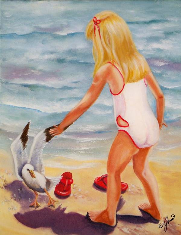 Beach Art Print featuring the painting A Day At The Beach by Joni McPherson