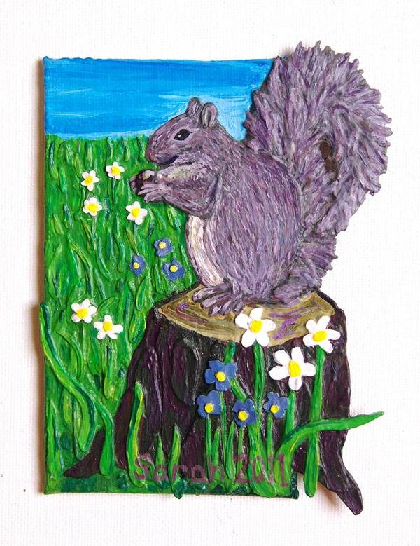 Squirrel Art Print featuring the mixed media A Squirrel At His Snack by Sarah Swift