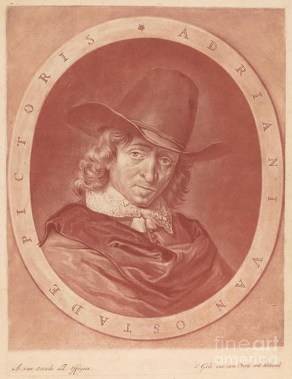 Art Print featuring the drawing Adriaen Van Ostade by Jacob Gole After Adriaen Van Ostade