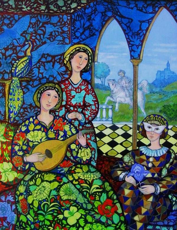 Medieval Art Print featuring the painting Afternoon In Blue by Marilene Sawaf