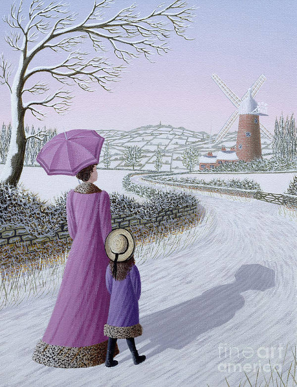 Naive; Landscape; Windmill; Shadow; Umbrella; Parasol Art Print featuring the painting Almost Home by Peter Szumowski